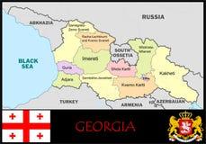 Georgia Administrative divisions. Georgia map flag and coat Stock Photo