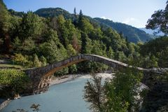 Georgia, an ancient stone bridge, from the times of Tamar`s tsar Royalty Free Stock Photo