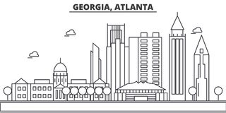 Georgia, Atlanta architecture line skyline illustration. Linear vector cityscape with famous landmarks, city sights Royalty Free Stock Photos
