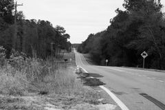 Georgia Backroads. A black and white photo of a Georgia road Royalty Free Stock Images