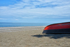 Georgia Batumi beach landscape with boat coast Black Royalty Free Stock Photography