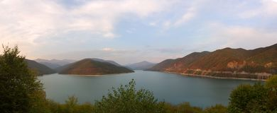 Georgia, a beautiful view of the Zhinval water reservoir. Georgia, beautiful view of the Zhinval water reservoir, the opposite shore Stock Images