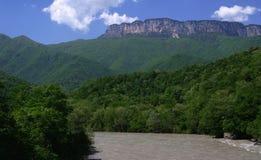 Georgia berg och flod i sommartid Royaltyfria Foton