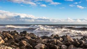 Georgia coast (Black sea) in storm, Poti Royalty Free Stock Images