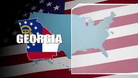 Georgia Countered Flag and Information Panel stock footage