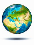 Georgia on Earth with white background. Georgia in red on model of planet Earth hovering in space. 3D illustration isolated on white background. Elements of this stock image