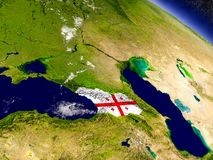 Georgia with embedded flag on Earth Stock Photography