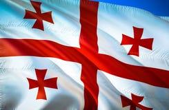 Georgia flag. 3D Waving flag design. The national symbol of Georgia, 3D rendering. Georgia 3D Waving sign design. Waving sign. Background wallpaper. 3D pattern royalty free stock photos
