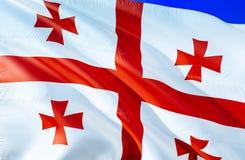 Georgia flag. 3D Waving flag design. The national symbol of Georgia, 3D rendering. National colors and National CIS flag of. Georgia for a background. South royalty free stock image