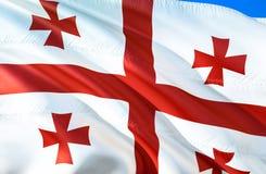 Georgia flag. 3D Waving flag design. The national symbol of Georgia, 3D rendering. The national symbol of Georgia background. Wallpaper. CIS flag 3D ribbon stock photo