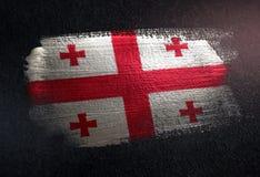 Georgia Flag Made de peinture métallique de brosse sur le mur foncé grunge illustration de vecteur