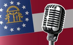 Georgia Flag And Microphone Background Photographie stock libre de droits