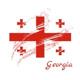 Georgia Flag Georgia Flag pintada escova Illus tirado mão do estilo ilustração do vetor