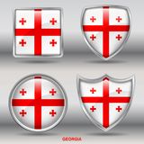 Georgia Flag in 4 shapes collection with clipping path stock photography