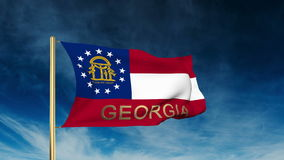 Georgia flag slider style with title. Waving in stock footage