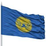 Georgia Flag sur le mât de drapeau, ondulant sur le fond blanc Image stock