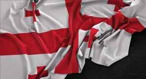 Georgia Flag Wrinkled On Dark-3D de Achtergrond geeft terug Royalty-vrije Stock Foto