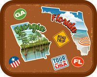Georgia, Florida travel stickers with scenic attractions. Georgia, Florida, travel stickers with scenic attractions and retro text on vintage suitcase background Stock Photos