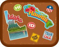 Georgia, Florida, travel stickers with scenic attractions. And retro text on vintage suitcase background Royalty Free Stock Photography