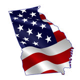 Georgia full of American flag. Waving in the wind. The outline of the state Stock Illustration