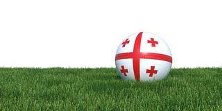 Georgia Georgian flag soccer ball lying in grass world cup 2018. Isolated on white background. 3D Rendering, Illustration Royalty Free Stock Images