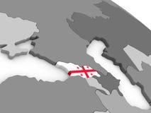 Georgia on globe with flag Royalty Free Stock Photo