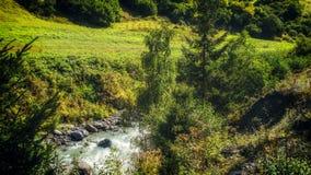 Georgia,Gruzia,near Ushguli. Georgia,Gruzia,Svaneti region ,river and fields stock photos