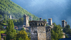 Georgia,Gruzia,Svaneti,Mestia,the watchtowers. Georgia,Gruzia,Mestia,the watchtowers and houses stock photo