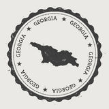 Georgia hipster round rubber stamp with country. Stock Photos