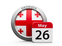 Georgia Independence Day. Emblem of Georgia with calendar button - The Twenty Sixth of May - represents the Georgia independence day, three-dimensional rendering Royalty Free Stock Image