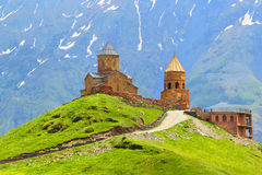Georgia. Kazbegi.Gergeti's church in Stepantsminda. Caucasus. Stock Images