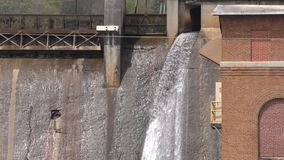 Georgia, Morgan Falls Dam, Water flowing from a spillway in the Morgan Falls Dam stock video