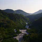 Georgia mountains and river in summer time Stock Photos