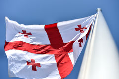 Georgia national flag blown by the wind Stock Photos