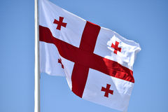 Georgia national flag blown by the wind Royalty Free Stock Photography