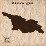 Georgia old map with grunge and crumpled paper. Vector illustration Stock Photography