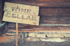 Georgia. Old wine cellar. Georgia. Wooden sign at the entrance to the old wine cellar royalty free stock photo