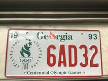 Georgia 1996 Olympic License plate stock image