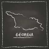 Georgia outline vector map hand drawn with chalk. Royalty Free Stock Photography