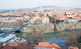 georgia panorama- tbilisi sikt Arkivfoton