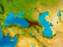 Georgia on physical map Royalty Free Stock Photos
