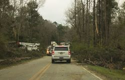 Georgia Power Crew on Fortson Road. `Georgia Power Crew on Fortson Road`, is a photo taken on Fortson Road, in Fortson, Georgia stock image