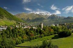 Georgia, región Svaneti, pueblo de montaña Mestia fotos de archivo