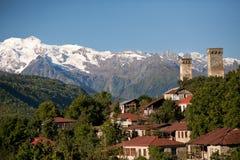 Georgia, región Svaneti, pueblo de montaña Mestia Foto de archivo libre de regalías