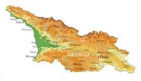 Georgia relief map. Highly detailed physical map of Georgia,in vector format,with all the relief forms,regions and big cities Royalty Free Stock Photography