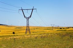 Georgia`s wind power stations and high-voltage power lines. Royalty Free Stock Photo