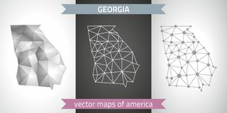 Georgia-Satz Grau und polygonale Karten des Silbermosaiks 3d Grafische Vektordreieckgeometrieentwurfs-Schattenperspektive zeichne Stockfotos