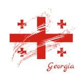 Georgia sjunker Borste målade Georgia Flag Hand dragen stilillus vektor illustrationer