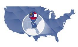 Georgia State ampliou no mapa do Estados Unidos ilustração stock