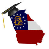 Georgia state college and university education concept, 3D rendering. Georgia education concept of a 3D state map icon and a university graduate mortarboard Stock Photography